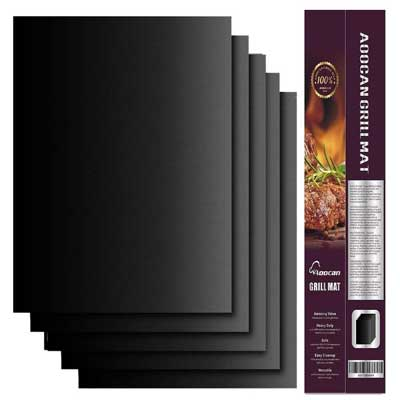 Aoocan Grill Mat Set of 5-100% Non-Stick BBQ Grill & Baking Mats